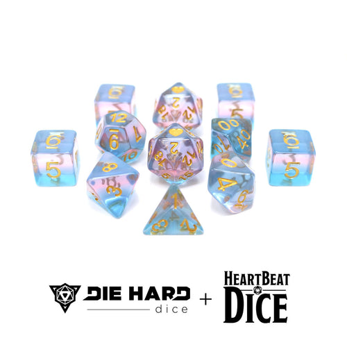 Heartbeat Dice - Translucent Transgender Pride Set