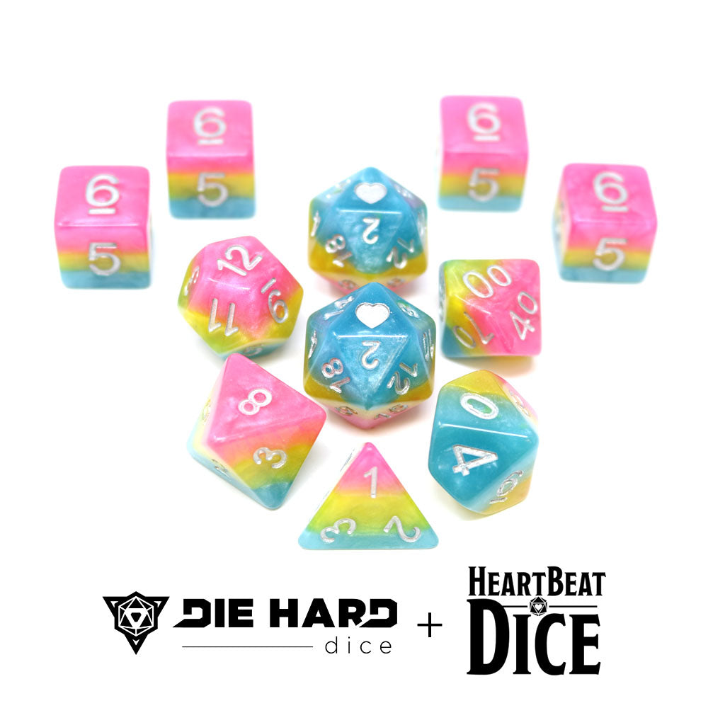 HeartBeat Dice - Opaque Pansexual Pride Set