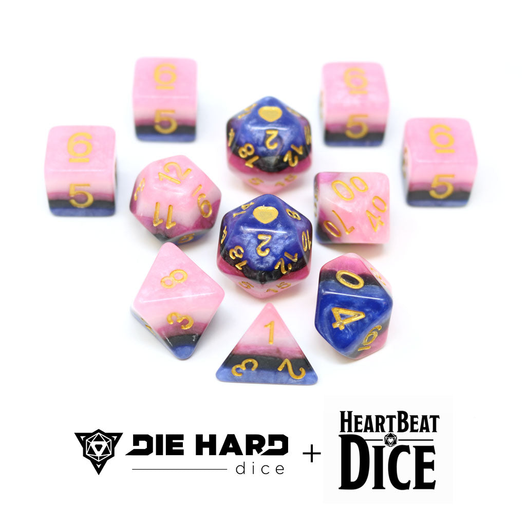 HeartBeat Dice - Opaque Genderfluid Pride Set