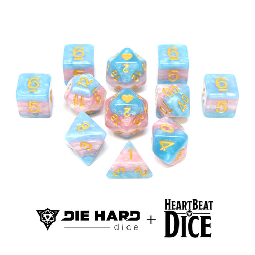 HeartBeat Dice - Opaque Transgender Pride Set