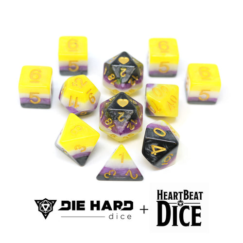 HeartBeat Dice - Opaque Non-Binary Pride Set