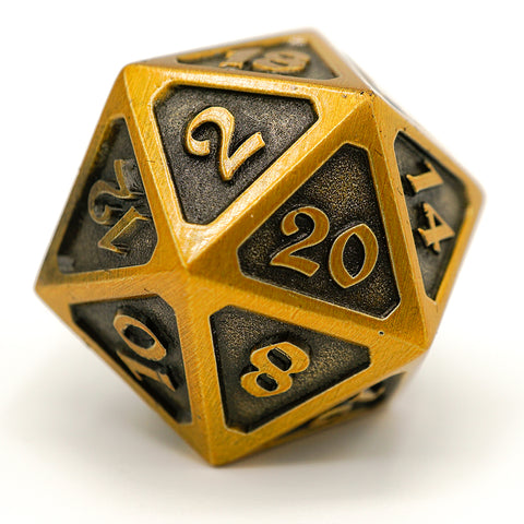 Single d20 - Mythica Battleworn Gold