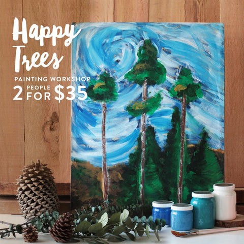 Happy Trees Painting Acrylic Painting Workshop
