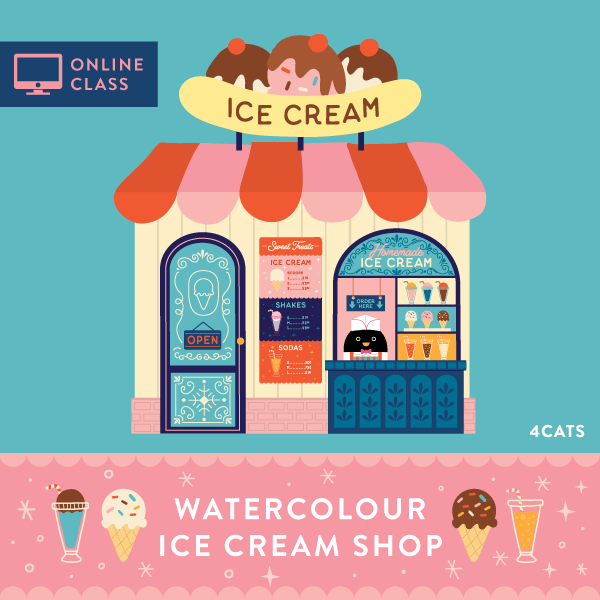 Online Class | Ice Cream Shop Watercolour