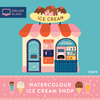 Ice Cream Shop Watercolour Bundle Kit