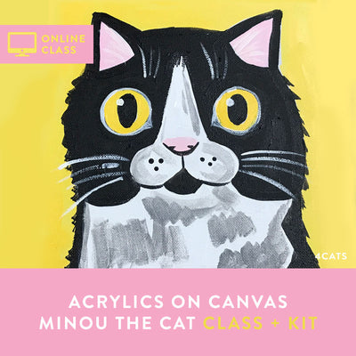 Minou the Cat Acrylic Painting | Online Class and Kit