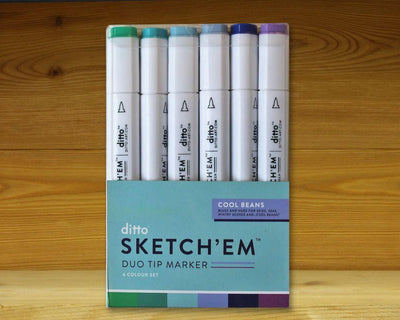 Sketch 'Em Markers Cool Beans Set