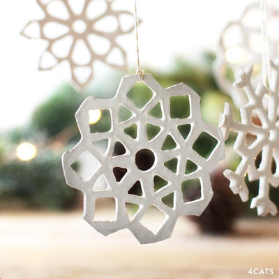 One of a Kind Clay Snowflake Ornament