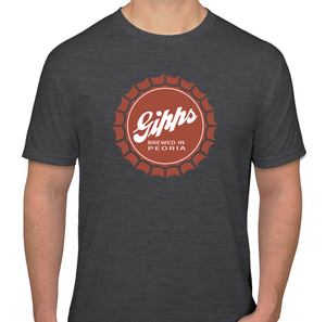 "Gipps ""Brewed In Peoria"" Vintage Style Bottle Cap T-Shirt"