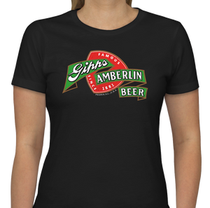 "Black Ladies Cut Gipps Amberlin Beer ""Famous Since 1881"" Vintage T-Shirt"