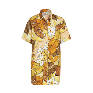 Women's Tiki Leaf Shirt Dress - Surf Line Hawaii