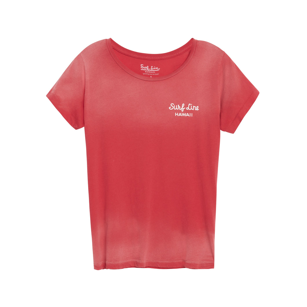Women's Red Surf Line Cracked Oval Logo Open Neck Tee - Surf Line Hawaii