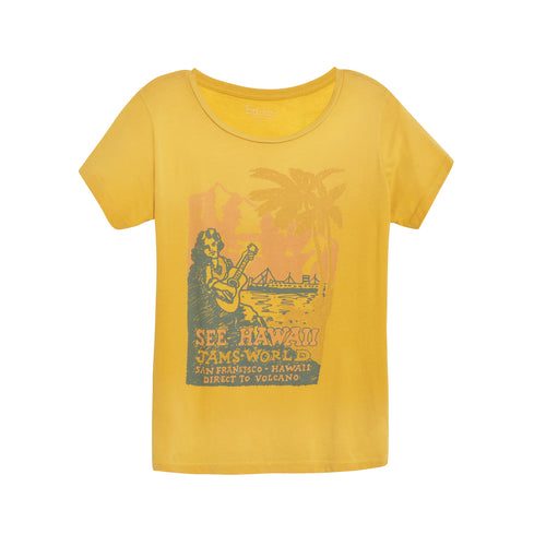 Women's See Hawaii Mustard 60's Tee - Surf Line Hawaii