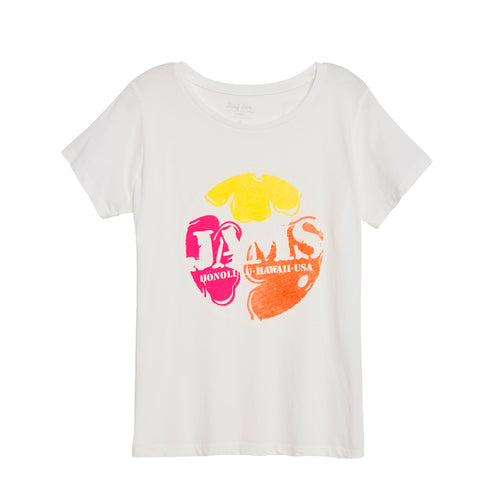 Women's Floral Jams Logo White Tee - Surf Line Hawaii