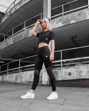 Tech-Dry Women's Black Crop Top - FITFAM