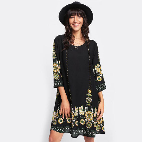 Women's Long Sleeve Scoop Neck Flower Print  Dress