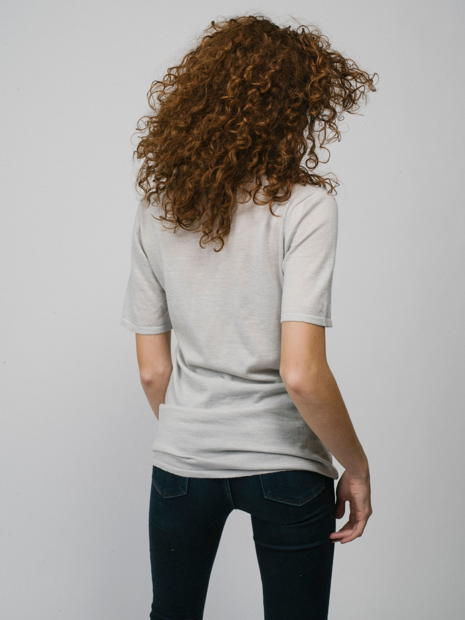 100% Cashmere T-Shirt - Women's Grey