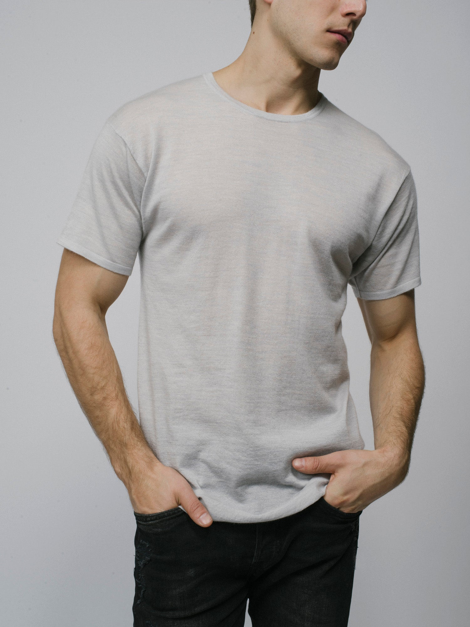100% Cashmere T-Shirt - Men's Grey