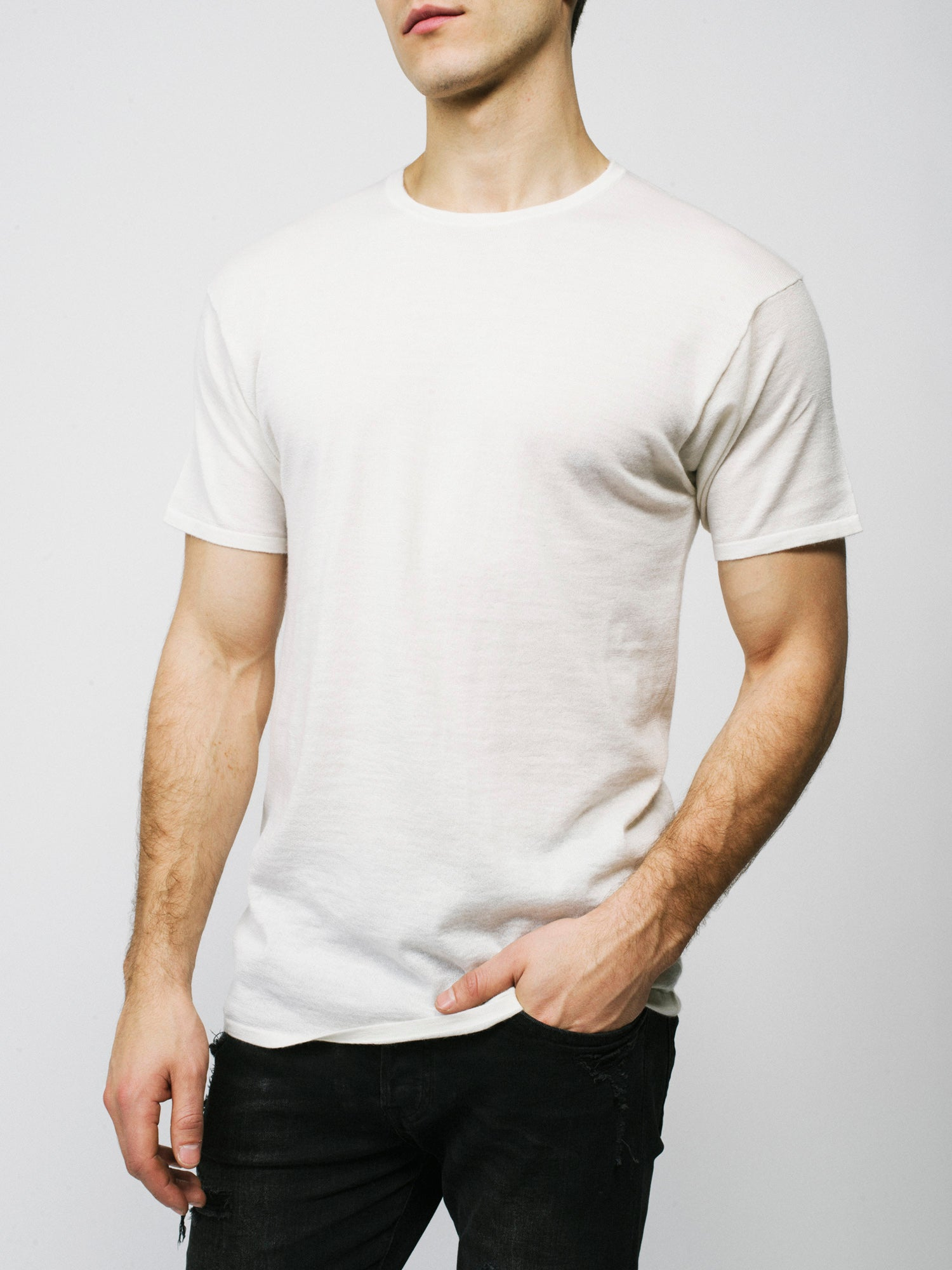 100% Cashmere T-Shirt - Men's Off White