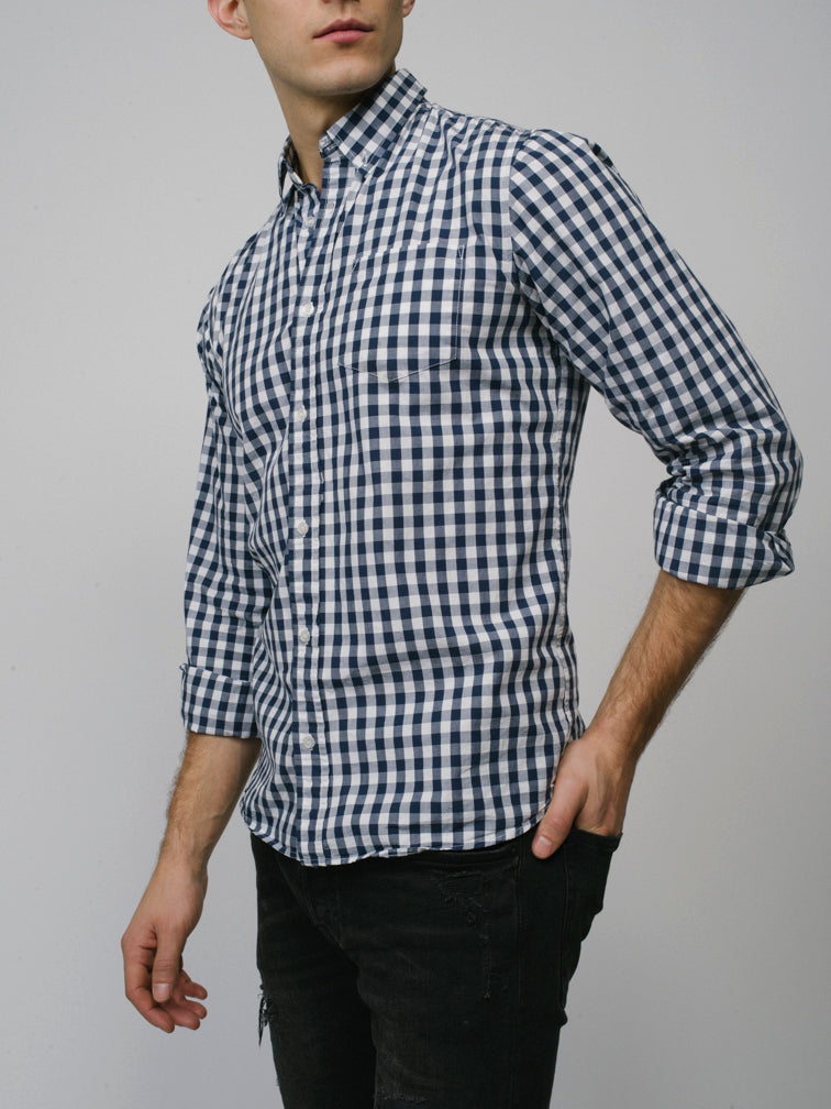 Men's Gingham Blue Shirt