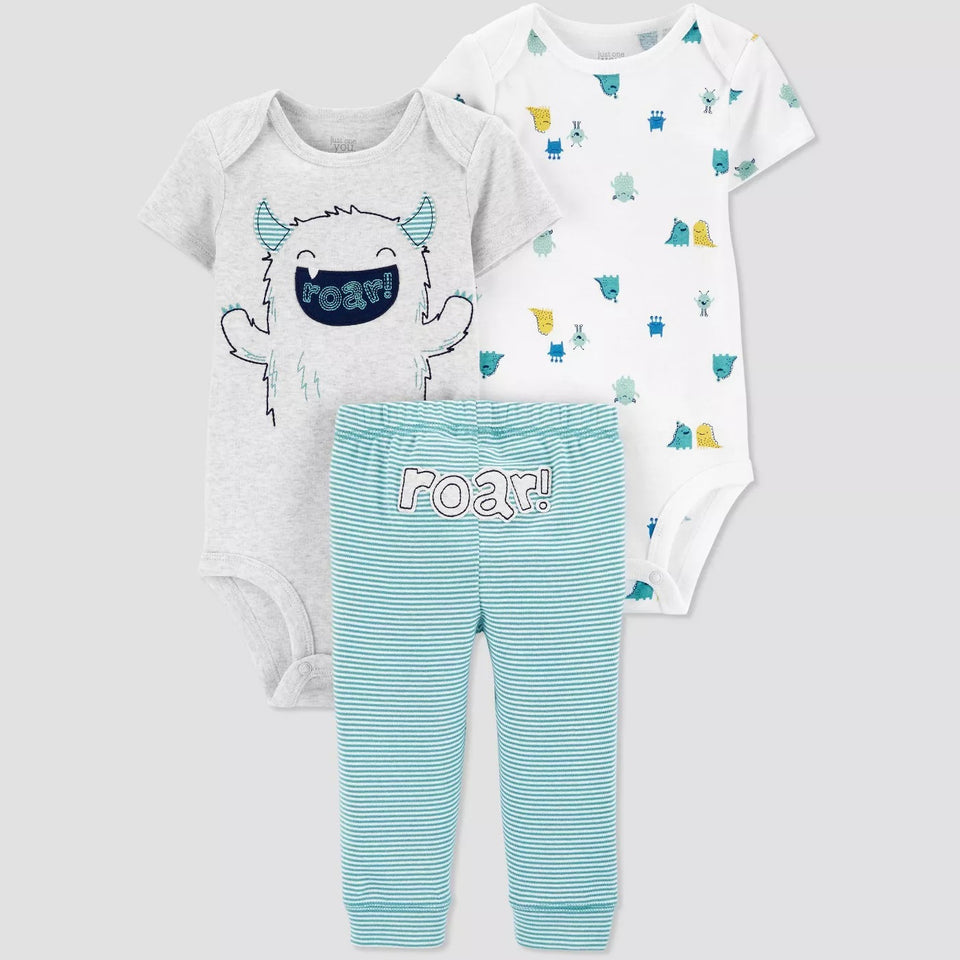 Conjunto Baby 3pc Monster - Carter's PRONTA ENTREGA