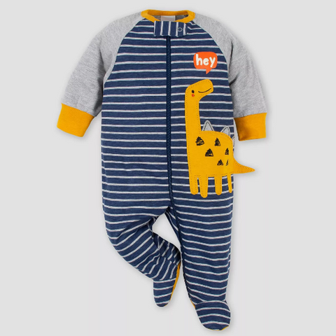 Kit Macacão Gerber Dino Zip-Front Sleep N 'Play