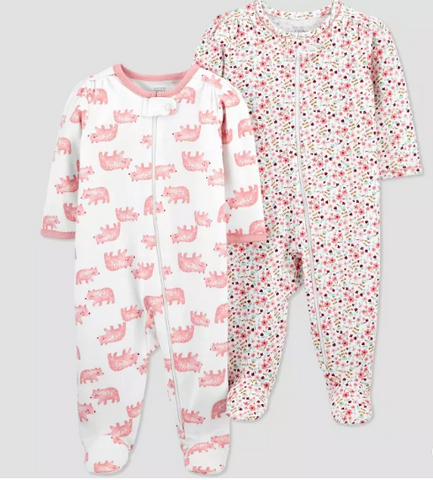 Kit macacão Baby Girls '2pç Bear e Floral - Carter's