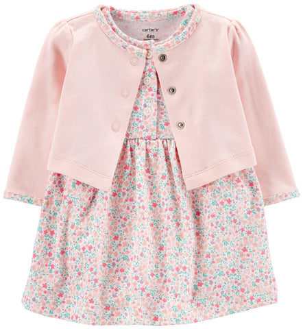 Carters Baby Girls Floral Bodysuit Vestido Cardigan Set
