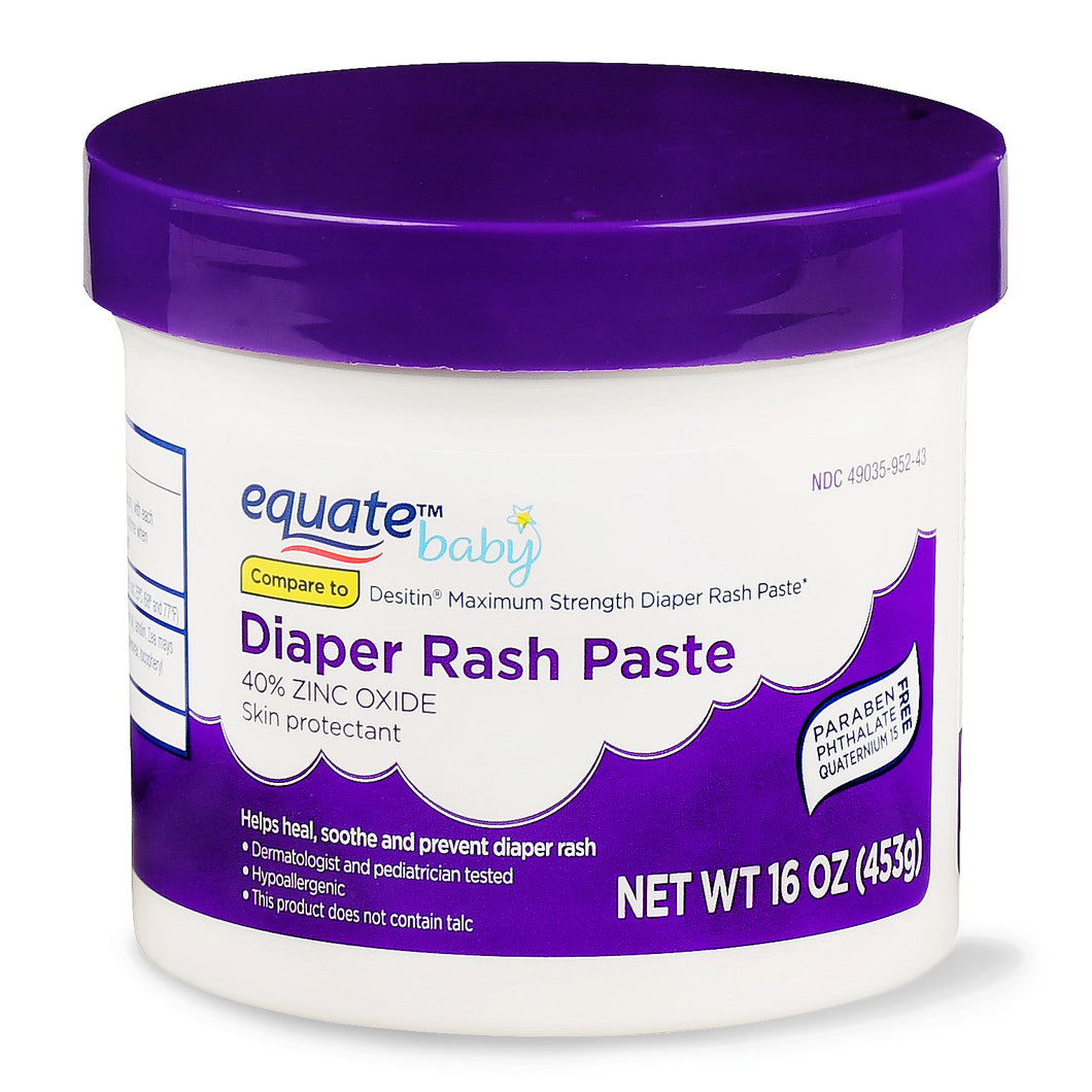 Pomada assadura Equate Pasteur Rash Paste Baby com 40% de óxido de zinco, 16 oz