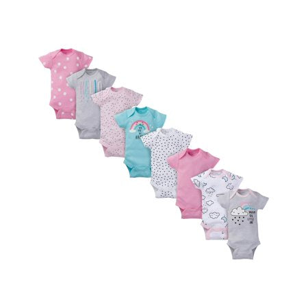 Kit body Gerber Baby Girl S manga curta Onesies Bodysuits, 8-Pç