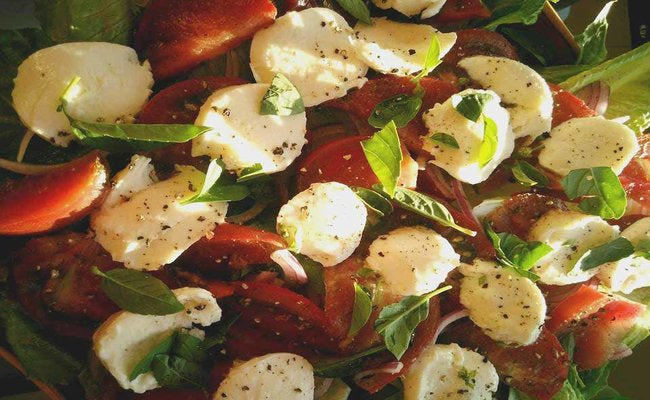 Heirloom Tomato, Torn Basil, and Fresh Mozzarella Salad