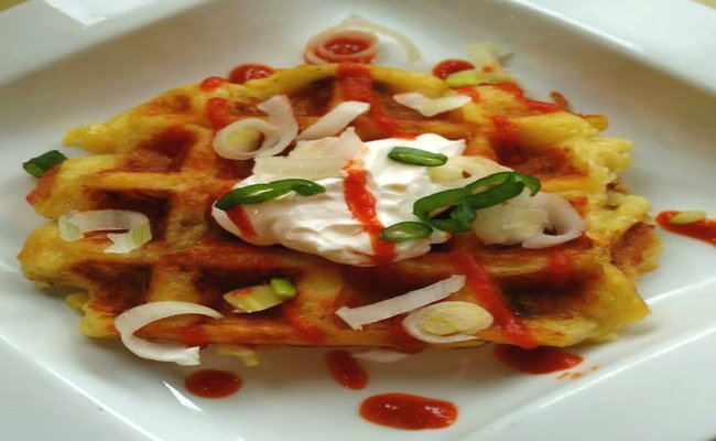 Savory Cheddar Garlic Mashed Potato Waffles