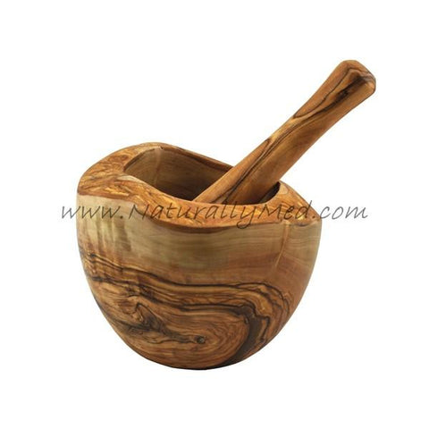 Olive Wood Mortar and Pestle - Natural Style