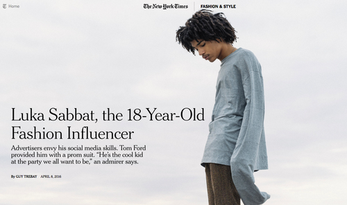 The New York Times: Luka Sabbat, The 18-Year-Old Fashion Influencer
