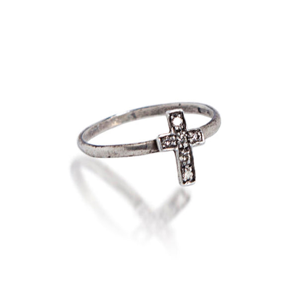 Baby Encrusted Cross Ring