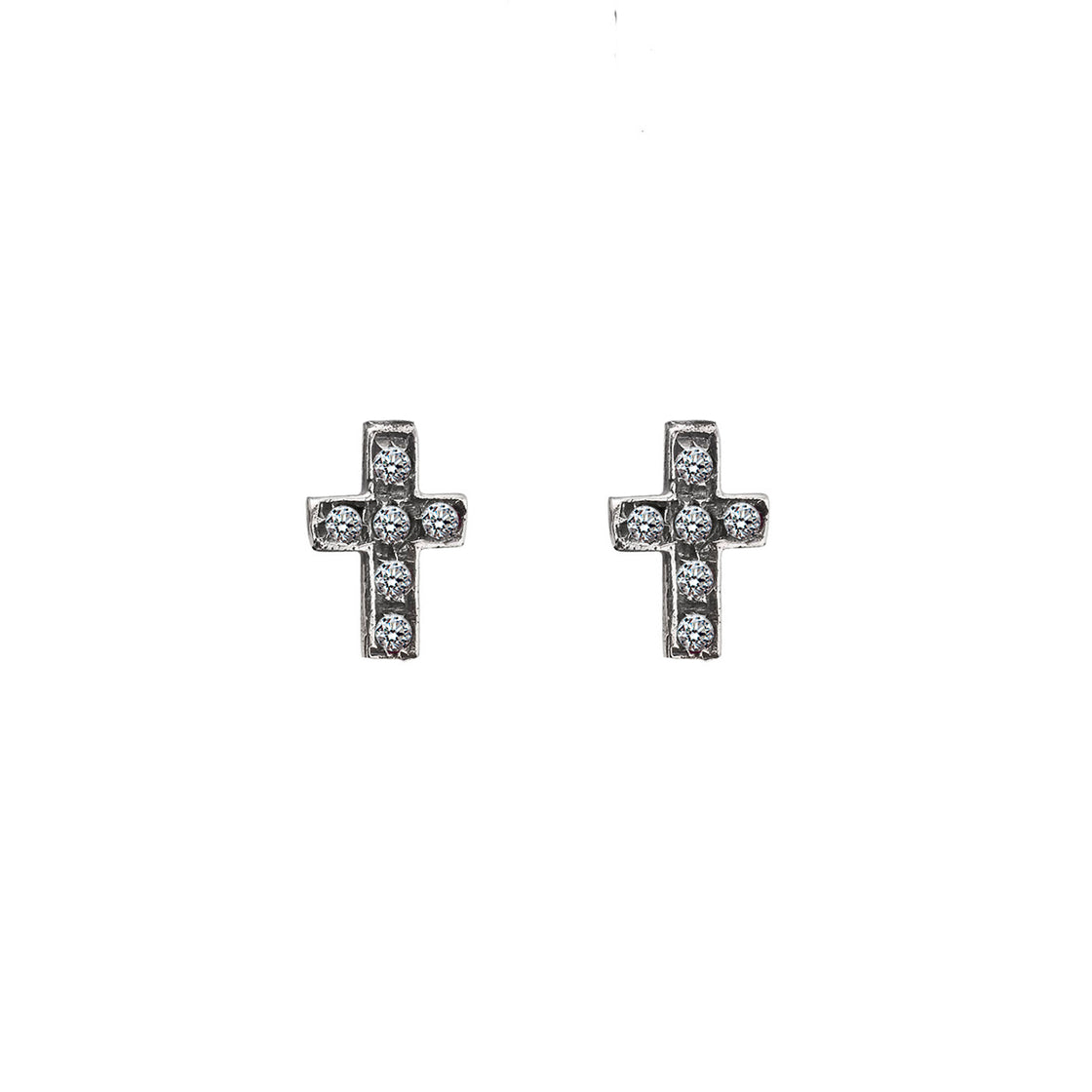 Baby Encrusted Cross Earrings
