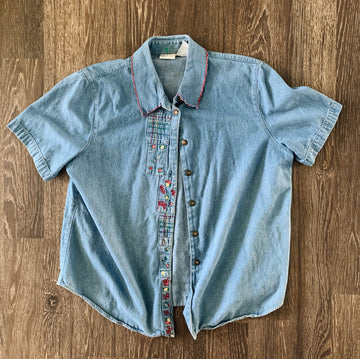 Vintage Women's Embroidered Denim Button-Up