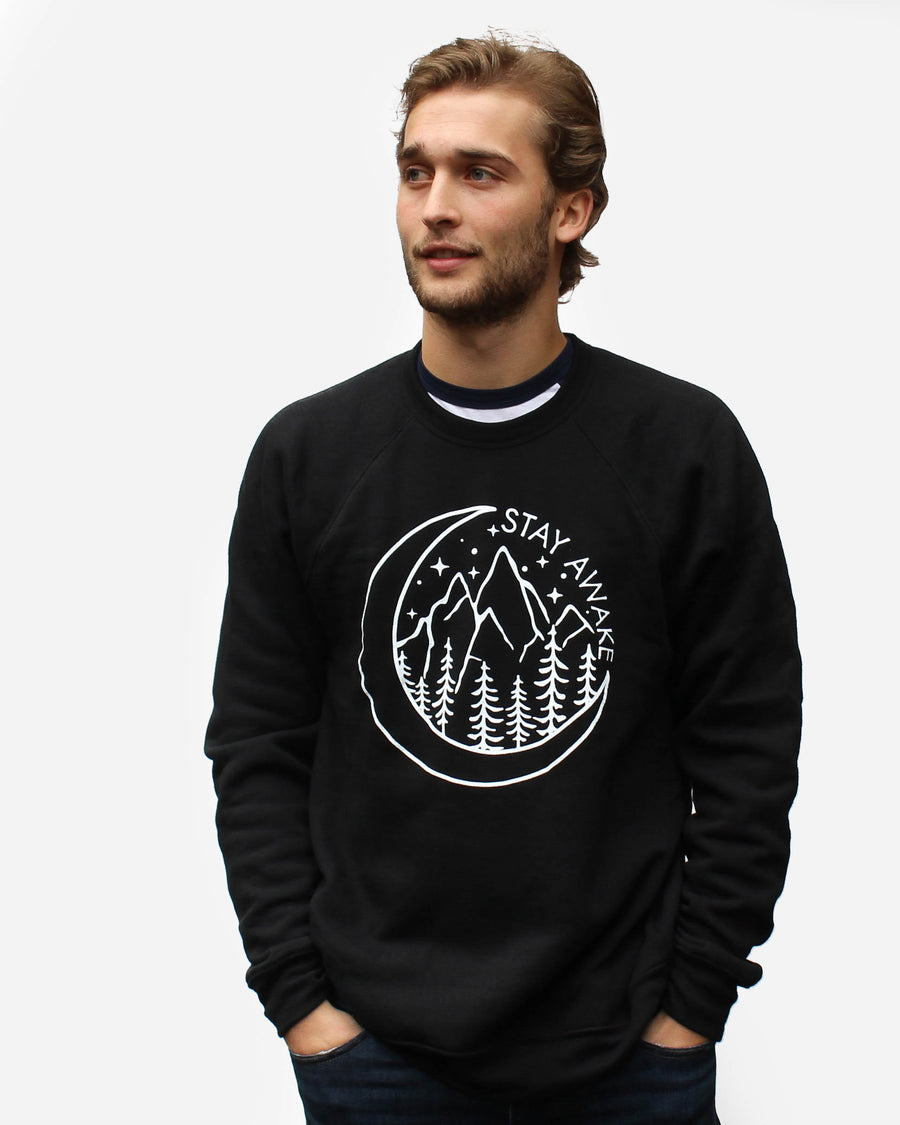 Stay Awake Crewneck // Black