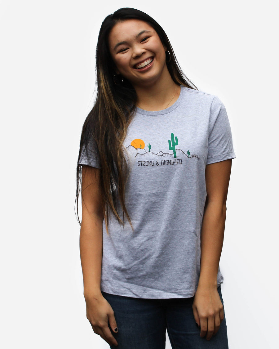 Strong & Dignified Women's Relaxed Tee // Heather Grey
