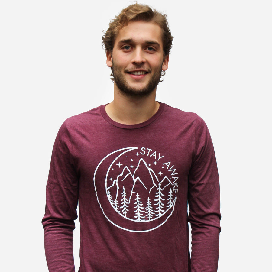 Stay Awake Long Sleeve Tee // Tri-Maroon