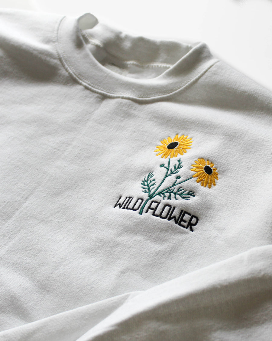 Wild Flower Embroidered Crewneck // White