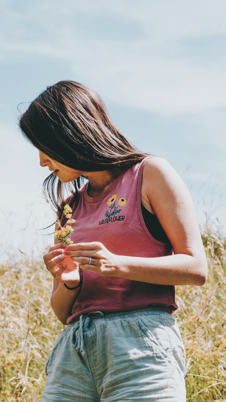 Wild Flower Embroidered Women's Tank // Mauve