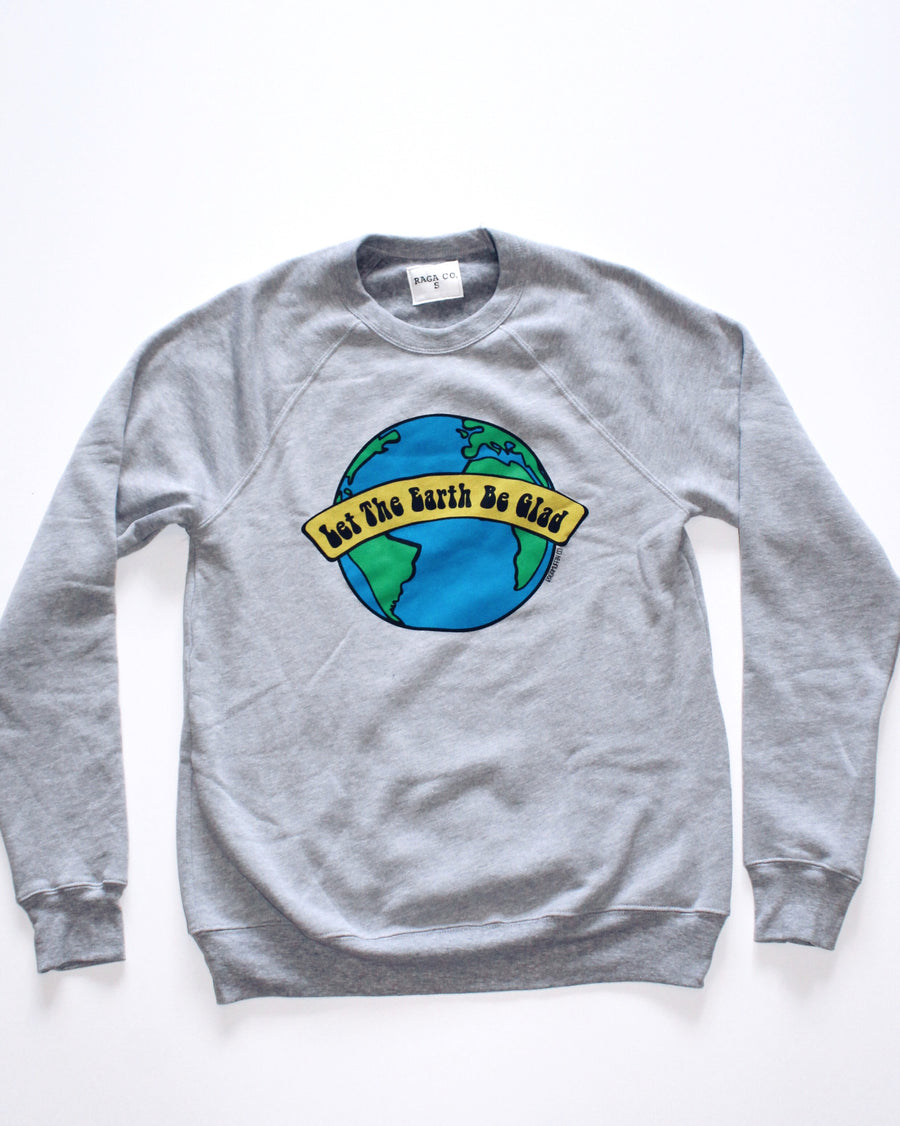 Happy Earth Crewneck // Heather Grey