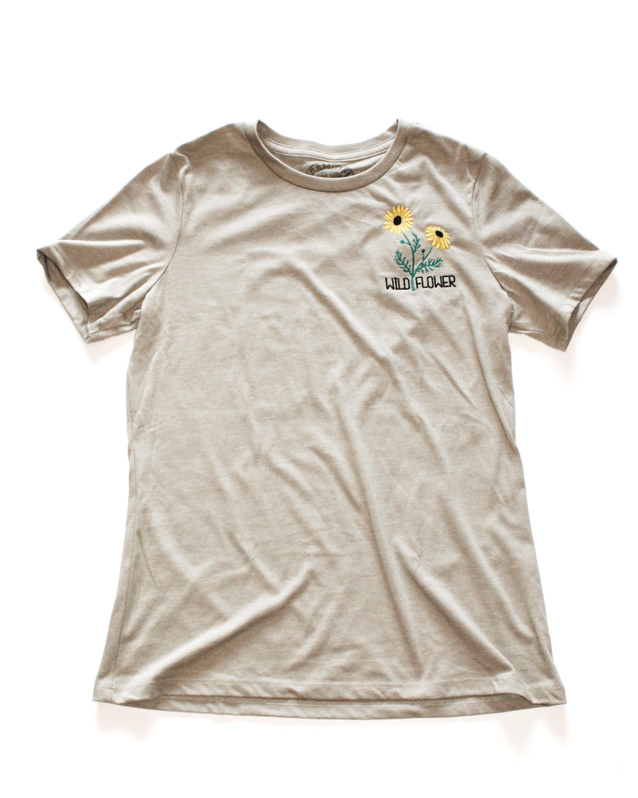 Wild Flower Embroidered Women's Relaxed Tee // Stone