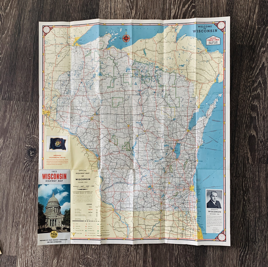 Vintage Wisconsin 1954 Road Map