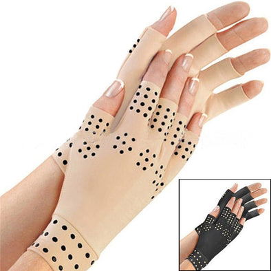 1 Pair Anti Arthritis Hands Gloves Magnetic Therapy Health Care Glove Rheumatoid Hand Pain Relief for Men Women black skin L3