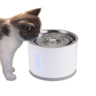 2.4L Capacity Automatic Cat Dog Electric Pet Drinking Fountain with LED Pet Bowl Drinking Water Dispenser Drink Filter Safe