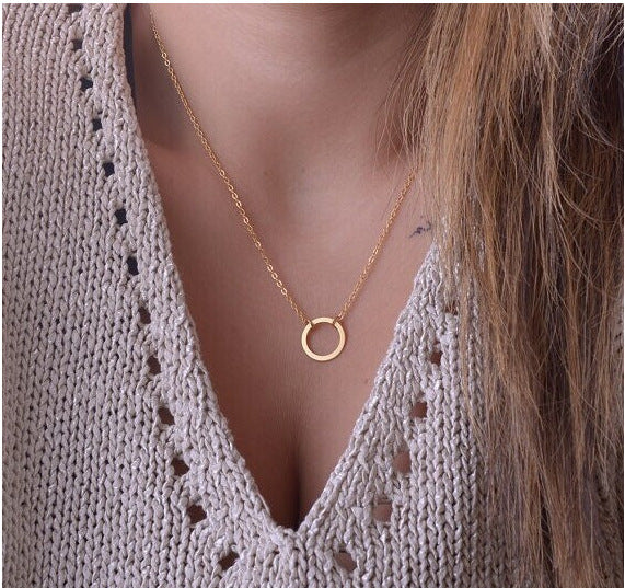 Hottest Fashion Casual Personality Circle Lariat Pendant Gold Color Necklace High Quality Women