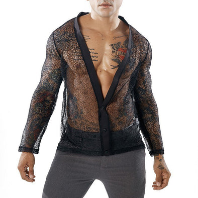 New Sexy Autumn Men's Mesh Transparent T shirt Deep V Neck - BC&ACI