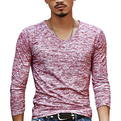 2018 Autumn Slim Streetwear  V neck T Shirt Men Casual Fitness